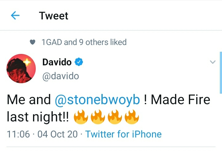 Stonebwoy Hits Studio With Davido